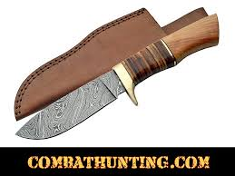 dm 1100 damascus steel hunting knife with stacked leather olive wood handle damascus steel knives
