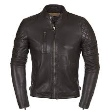 mens black motorcycle quilted armoured leather jacket