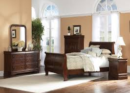Louis Philippe Furniture Bedroom Brown Cherry Finish Traditional Sleigh Bed W Optional Case Goods