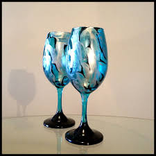 custom made blue silver and black abstract design white wine glasses