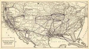1917 Antique Southern Pacific Railroad Map Vintage Railway