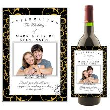wedding bottle label personalised black gold swirls wedding celebration wine champagne