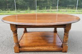 large round oak coffee table sold farmhouse table with metal chairs