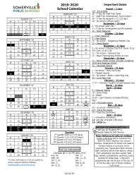 District School Year Calendar 2019 2020 Somerville Public