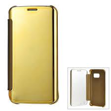 samsung galaxy s6 gold case. protective mirror cover pu case for samsung galaxy s6 edge - gold | lazada malaysia c