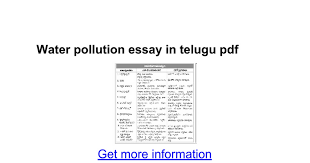 water pollution essay in telugu pdf google docs