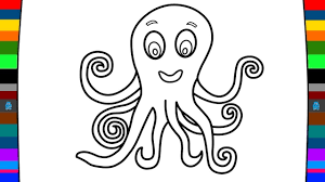 Sea Animals Coloring Pages | How to Draw a Octopus | Drawing and ...