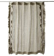 ruffled natural cotton linen shower curtain contemporary natural linen shower curtain