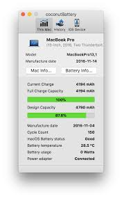 Battery Design Capacity Vs Full Charge Capacity Mbp Late 2016 Battery Health Dropped 15 In A Year