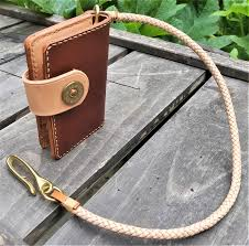 custom made handmade leather biker wallet raeda vegetable tanned natural brown with braided chain