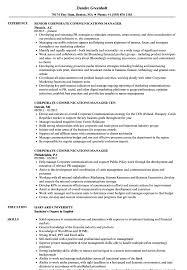 Corporate Communications Manager Resume Samples Velvet Jobs