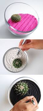 amazing image of accessories for table decorating design idea using round clear glass bowl pink sand cactus zen garden for desk centerpiece