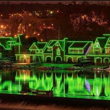 Boathouse Row Eagles Lights Photos Phillys Skyline Goes Green For The Eagles Curbed