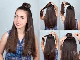 シンプルな髪型ツイストお団子のチュートリアルですロングヘアのヘア