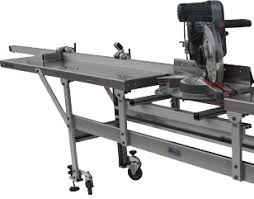 metal chop saw table. typical saw guide workstation with roller tables support frame flip-up posi-stop metal chop table