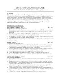 Manager Resume Free Sample Senior Project With Summary Examples