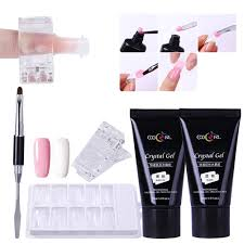 get ations bonnie 2pcs 30ml clear bare pink poly crystal gel uv nail builder finger tips clip extension