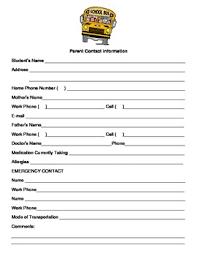Parent Contact Information Sheet English Spanish Version