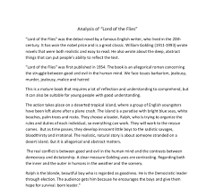 essays on lord of the flies lord of the flies by william golding  analysis of lord of the flies the real conflict is between good document image preview