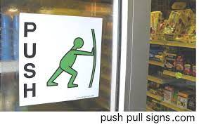 pull signs stickers for glass doors