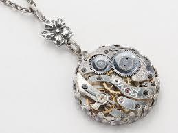 steampunk necklace steampunk jewelry watch movement gears silver flower filigree victorian pendant statement necklace
