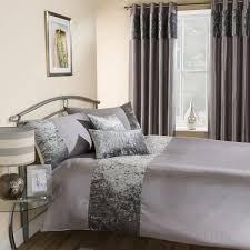 amalfi crushed velvet duvet cover set silver grey