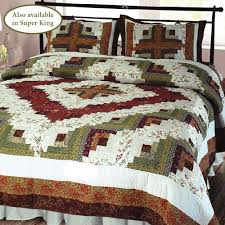 overview the handcrafted cotton log cabin patchwork quilt bedding