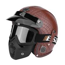 motor helmets 3 4 pu leather motorcycle chopper bike helmet open face vintage motorcycle helmet with goggle mask caraccessories cool motorcycle helmets for