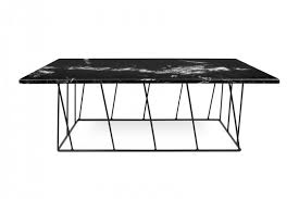 modern helix coffee table with a black marble top and a black base