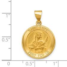 satin st lucy medal hollow pendant