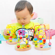 colorful wooden mini around beads toy wooden bead roller coaster kids baby toddler educational maze game toy com
