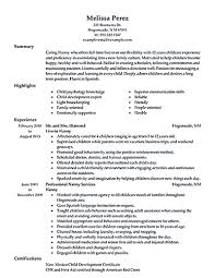 Babysitter Resume Examples Creative Resume For Babysitting Examples On Nanny Resumes Samples 14
