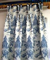 toile curtains blue blue ds 2 panels with short double pleat velvet piping at top of