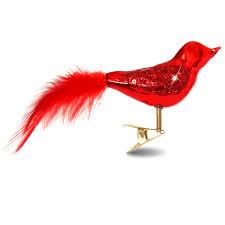 Sikora Christbaumschmuck Glas Ornament Clip Vogel Mit Federn Und Pailletten Rot 3er Set L19cm Caspar Taschen