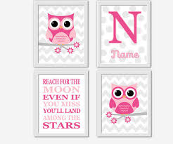owl baby girl nursery wall art pink gray personalized art girl room wall art owls nursery