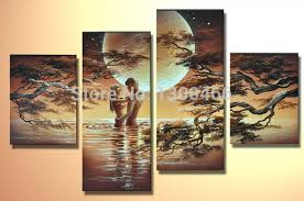Small Picture Hand painted 4 piece wall art african nude women canvas art