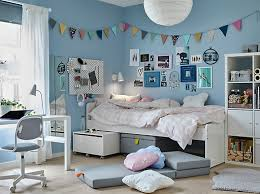 ikea bedroom ideas blue. A Tween Bedroom With Blue Walls And White SLÄKT Bed Items Underneath Beside Ikea Ideas