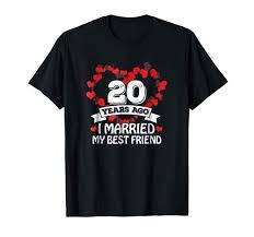 20th wedding anniversary gift ideas husband and wife tshirt