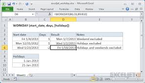 How To Use The Excel Workday Function Exceljet