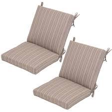 saddle stripe mid back outdoor dining chair cushion 2 pack