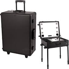 all black professional rolling studio makeup case with touchscreen power cool led lights multia speakers legs