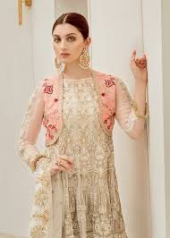 White Designer Outfits Designer Chiffon Outfits Full Embroidered With Threads