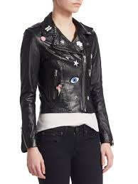 lamarque black donna rock patch moto jacket lyst view fullscreen