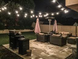 these lights are definitely commercial grade i ran two galvanized wires from my house to fence about 22 apart and ran the lights back and forth with zip backyard string lighting
