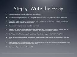 timed writing and you ppt  step 4 write the essay keep your audience in mind and write to your