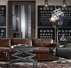 Cool Man Cave Furniture With Leather Couch And Industrial Coffee Table