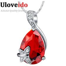 whole new red stone pendant necklace silver jewelry for women fashion engagement ruby simulated diamond accessiores hot 1149 family pendant