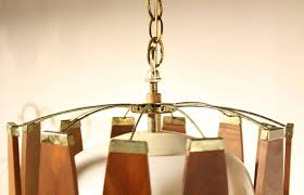 vintage teak and brass mid century danish modern light fixture chandelier 3