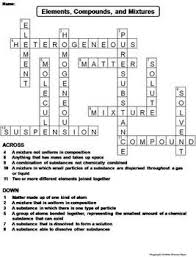 Elements Compounds And Mixtures Worksheet Crossword Puzzle