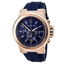 michael kors mk8295 48mm stainless steel case blue rubber men s watch